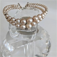 Handmade double stranded child faux pearl bracelet