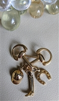 Equestrian theme shimmering gold dangle brooch