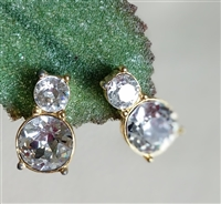 TRIFARI vintage clip on earrings with clear beads