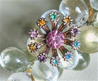 Floral brooch with multi color beads accents