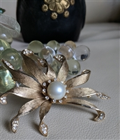 Satin gold tone blooming flower faux pearl brooch