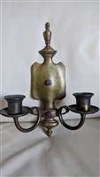 Brass dark patina double candle holder wall mount