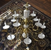 Huge Brass and ceramic Chandelier 12 lightbulbs