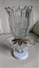 Boudoir style lamp with crystal shade glass beads