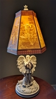 Angel Resin Alabastrite table lamp playing trumpet