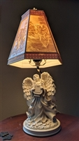 Angel Resin Alabastrite table lamp playing harp