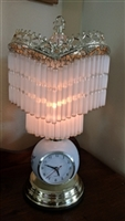 Boudoir style unusual table accent lamp with clock