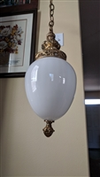 Oval milk glass shade ceiling lamp Underwriters