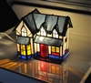 Stained glass house accent lamp
