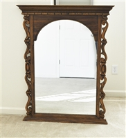 Large wooden wall mirror in elegant frame 1969