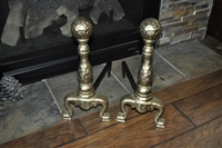 Two Brass and cast iron firewood Andirons