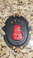 UFIC Firemen advertising cast iron wall plaque