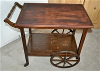Wooden bar cart serving