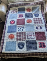 Sports emblems patchwork quilt in colorful design