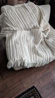 Cozy large hand knitter blanket 78 inch by 51 inch