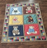 Bears colorful quilted throw blanket or wall decor