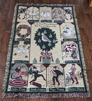 Christmas 12 days gifts tapestry throw blanket