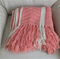 Hand knitted colorful fringed blanket throw decor