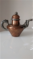 Antique copper overlay vessel dragon elephant deco