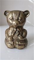 Satin brass color metal Bear money piggy bank