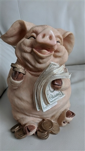 Super Cute And Money Happy Large Hard Plastic Pig Holding Bills And Coins Vintage Money Bank With Rubber Stopper