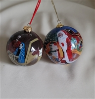 Ornate North Pole and Nativity theme ornaments set