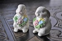 Two porcelain Bunnies salt and pepper shakers