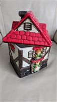 Vintage Japanese cookie jar house hand painted