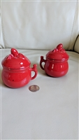 PV Italian Majolica porcelain lidded red jars