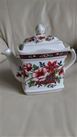 English WIndsor porcelain teapot with floral decor
