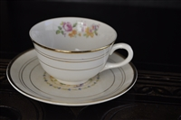 Crooksville floral teacup and saucer