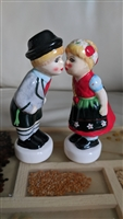 German Boy and Girl kissing salt pepper shakers