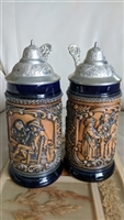 German DBGM and ORM marked beer steins set of two