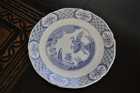 Old Chelsea porcelain plate with blue decor