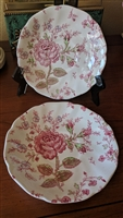 Rose Chintz Pink two saucers Johnson Bros England