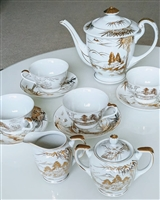 Kutani Japanese porcelain tea set Mt. Fuji 13 item