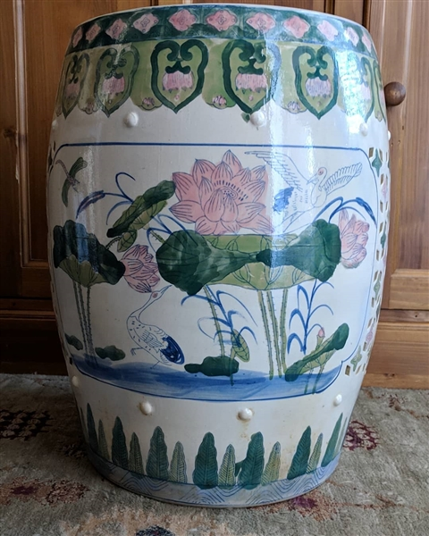 Super Vintage Asian Garden Stool With Lotus Flowers Cranes Hand Painted Decorations In Pale Green And Pink Colors Gmtry Best Dining Table And Chair Ideas Images Gmtryco