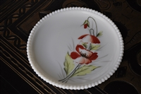 Westmoreland Poppy flower milk glass plate