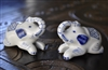 Elephants salt and pepper shakers white and blue