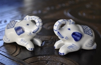 porcelain two Elephants salt and pepper shakers