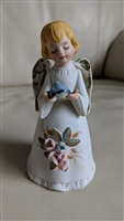 HOMCO porcelain Angel with blue bird Bell