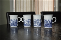 Blue Transferware English drinking cups set