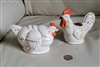 Rooster creamer and Hen sugar bowl ceramic Japan