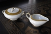 Noritake Gold embossed sugar bowl and creamer 5480