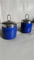 Porcelain egg coddlers in blue color silver lid