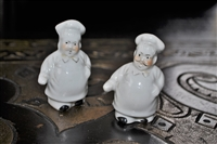 Japanese porcelain Chefs salt and pepper shakers