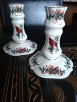 Lenox candlesticks in Winter Greetings pattern