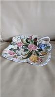 Nove Rose Blue Ridge Southern Pottery leaf plate