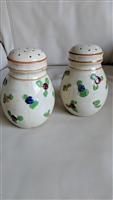 Japanese large porcelain floral embossed shakers