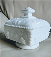 Westmoreland Beaded milk glass grape pedestal dish